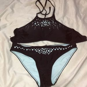 Teal and black bikini